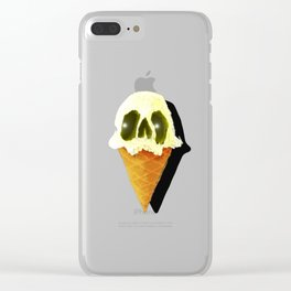 Skull Yellow Ice Cream Clear iPhone Case
