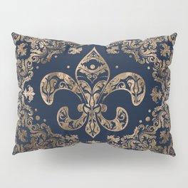 Luxury Fleur-de-lis Ornament - gold and dark blue Pillow Sham