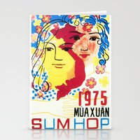 1975 Stationery Cards featuring Vietnam propaganda poster - 1975 Spring of Reunion by Vietnam Propaganda artworks