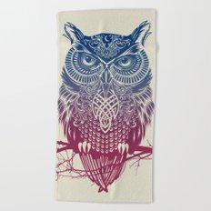 Evening Warrior Owl Beach Towel