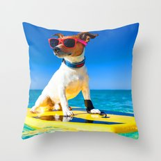 Doggie Surf Throw Pillow