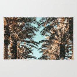 {1 of 2} Palm Tree Canopy // Tropical Summer Beach Teal Shaded Sky Rug