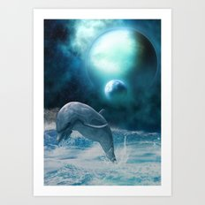 Freedom of dolphins Art Print