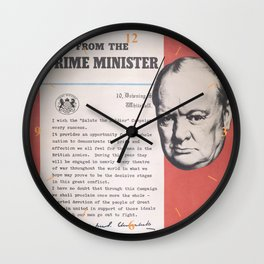 Reprint of Winston Churchill British wartime poster. Wall Clock