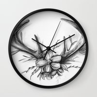 antlers Wall Clocks featuring Antlers by Robyn Marshall