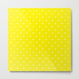 Small White Polka Dots with Yellow Background Metal Print