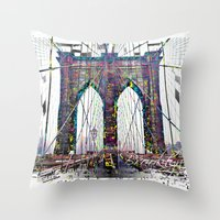 brooklyn bridge Throw Pillows featuring brooklyn bridge by Vector Art