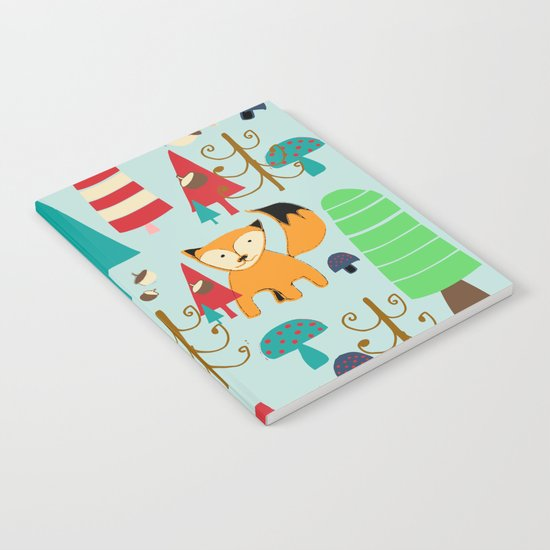 Woodland fox blue Notebook