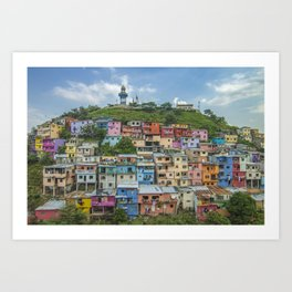 Colorful Houses on a Hill Art Print