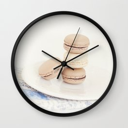 French Macaroons against White and Blue- Kitchen Art Wall Clock