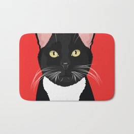 Tuxedo Cat Art Poster by Artist A.Ramos. Designed in Bold Colors. Perfect for Pet Lovers Bath Mat