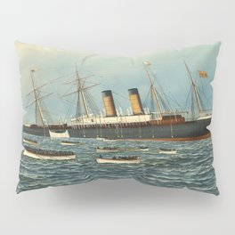 Vintage Illustration of The SS Oregon Sinking (1902) Pillow Sham