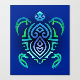 Tribal Turtle Ombre Background Canvas Print