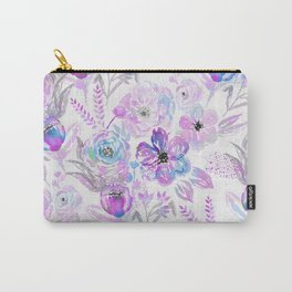 Hand painted modern pink lavender blue watercolor flowers Carry-All Pouch