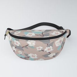 Delicate flowers and twigs with leaves and branches Fanny Pack