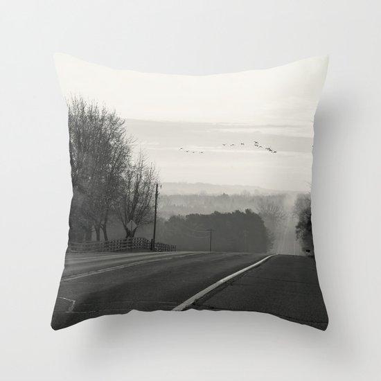 Foggy Migration Throw Pillow