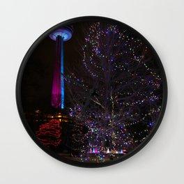 Skylon Tower with Christmas Lights Wall Clock