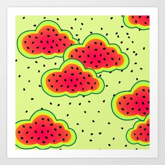 Watermelon Clouds Design Art Print