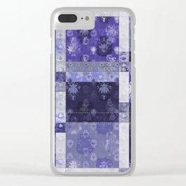 Lotus flower blue stitched patchwork - woodblock print style pattern Clear iPhone Case