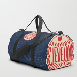 Hand Drawn Baseball for Cleveland Ohio with custom Lettering Duffle Bag