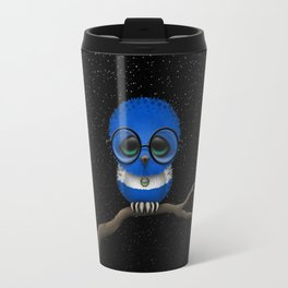 Baby Owl with Glasses and Salvadorian Flag Travel Mug