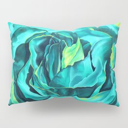 Turquoise Rose, green roses, flower art, dia de los muertos Pillow Sham