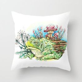 Toadaly Fungy Throw Pillow