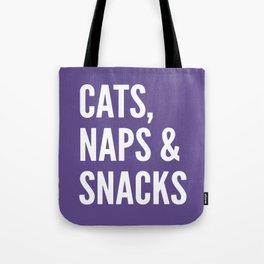 Cats, Naps & Snacks (Ultra Violet) Tote Bag