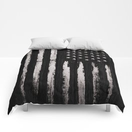 White Grunge American flag Comforters