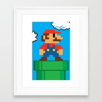 mario bros Framed Art Prints featuring Mario Bros by WaXaVeJu