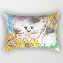 Marisol y los girasoles, the cat and the Sunflowers Rectangular Pillow