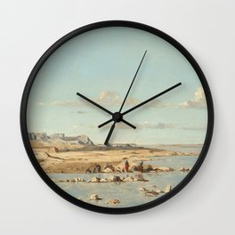 Paul Guigou Washerwomen on the Banks of the Durance 1866 Painting Wall Clock