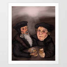 John Calvin and Martin Luther, Pub Theology Art Print