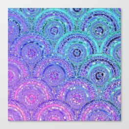 Aqua Blue Purple and Pink Sparkling Glitter Circles Canvas Print