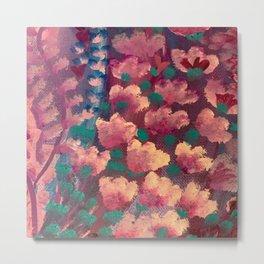 Purple and Teal Flower Pattern Metal Print
