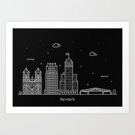 Newark Minimal Nightscape / Skyline Drawing Art Print