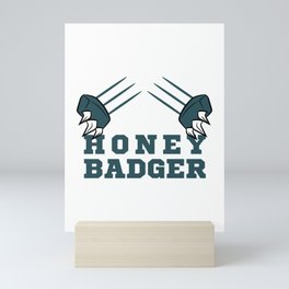 """""""Fear The Honey Badger""""  tee with claw graphic design for honey  lovers yellow bee like you!  Mini Art Print"""