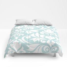 Flourish Damask Art I White on Duck Egg Blue Comforters