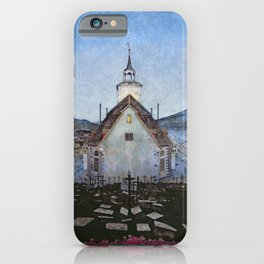 All Night Forever, Town and Cemetery by moonlight landscape by Harald Sohlberg iPhone Case