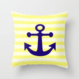 Blue Anchor with Yellow Ropes Throw Pillow
