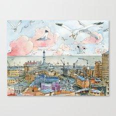 Genova e la Lanterna Canvas Print