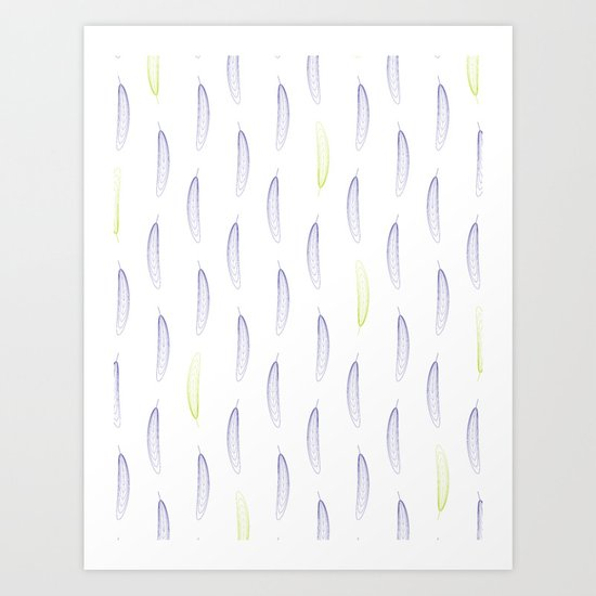 Geometric Feather Pattern - Purple & Green #398 by naturalcollective