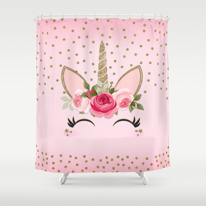 Pink & Gold Cute Floral Unicorn Shower Curtain