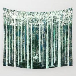 Christmas Stag in the jungle handpainted Wall Tapestry