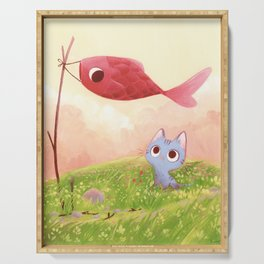 Cat and red fish Serving Tray