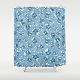 Cozy Blue Mugs Shower Curtain