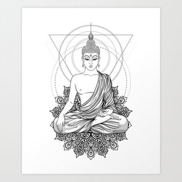 Sitting Buddha isolated on white Art Print