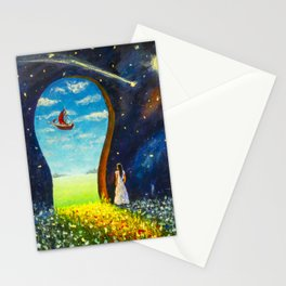 Original painting I believe in miracles. Acrylic, paper. Artist Valery Rybakow Stationery Cards