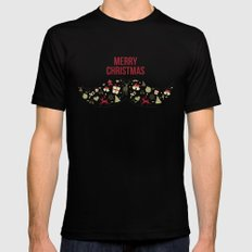 Merry Christmas LARGE Black Mens Fitted Tee