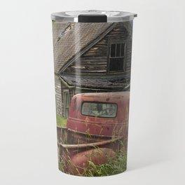 Old Chevy Pickup and Abandoned Farm House Travel Mug